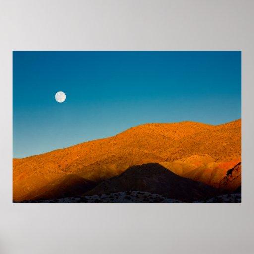 Moonrise over Mojave desert Print