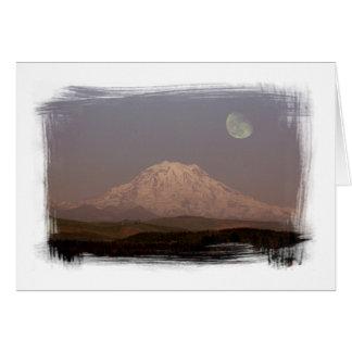 Moonrise over Mount Rainier Notecard