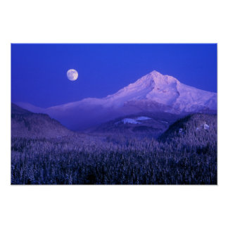 Moonrise over Mt Hood winter, Oregon Poster