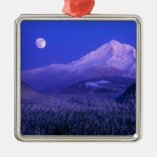 Moonrise over Mt Hood winter, Oregon Silver-Colored Square Decoration