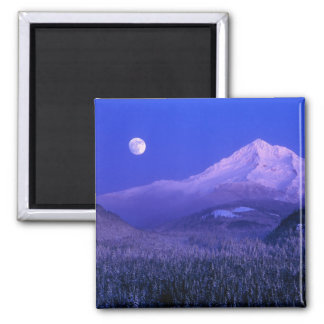 Moonrise over Mt Hood winter, Oregon Square Magnet