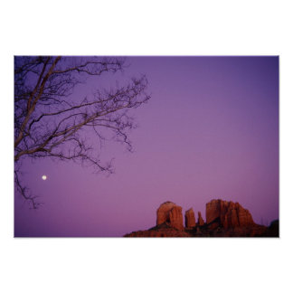 Moonrise Over Oak Creek Canyon Poster