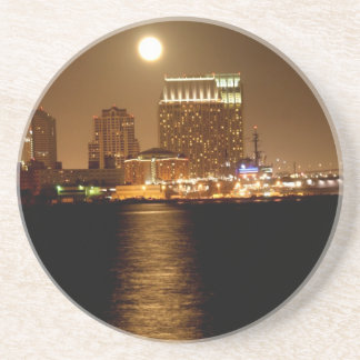 moonrise over San Diego Beverage Coaster