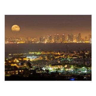Moonrise over the San Diego skyline Postcard