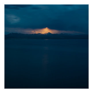 Moonrise over Yellowstone Lake Poster