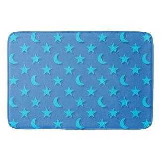 Moons and stars pattern bath mat