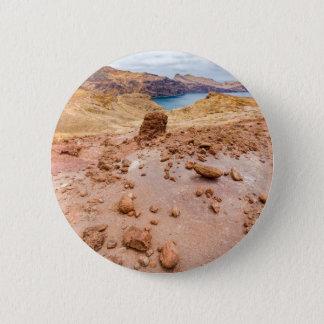 Moonscape lunar landscape with rocks on island 6 cm round badge