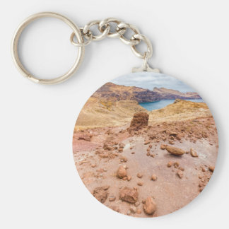 Moonscape lunar landscape with rocks on island basic round button key ring