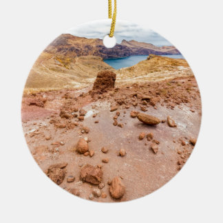 Moonscape lunar landscape with rocks on island ceramic ornament
