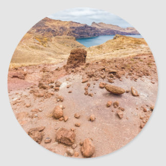 Moonscape lunar landscape with rocks on island classic round sticker