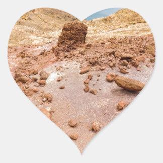 Moonscape lunar landscape with rocks on island heart sticker