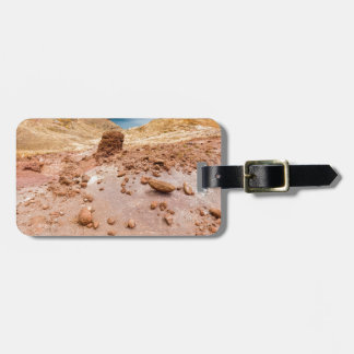 Moonscape lunar landscape with rocks on island luggage tag