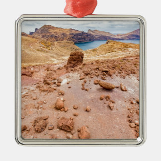 Moonscape lunar landscape with rocks on island metal ornament