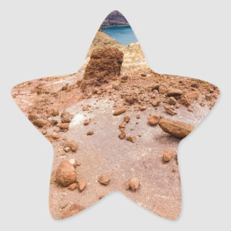 Moonscape lunar landscape with rocks on island star sticker