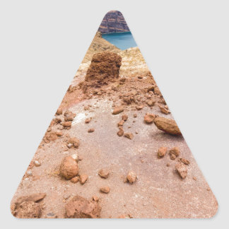 Moonscape lunar landscape with rocks on island triangle sticker
