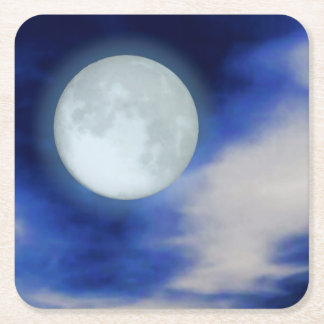 Moonscape with moonlit clouds square paper coaster