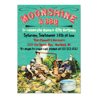 Moonshine and BBQ Party Invitations