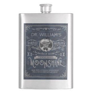 Moonshine Hillbilly Medicine Vintage Custom Blue Flasks