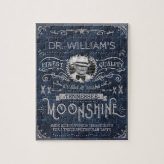 Moonshine Hillbilly Medicine Vintage Custom Blue Jigsaw Puzzle