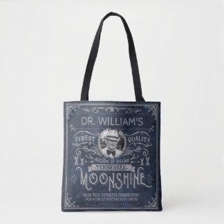 Moonshine Hillbilly Medicine Vintage Custom Blue Tote Bag