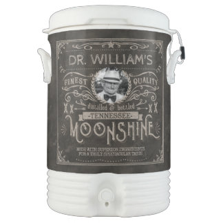 Moonshine Hillbilly Medicine Vintage Custom Brown Drinks Cooler