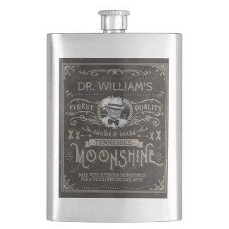Moonshine Hillbilly Medicine Vintage Custom Brown Hip Flask