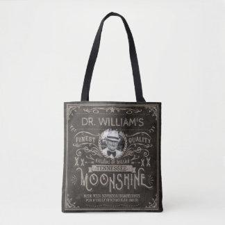 Moonshine Hillbilly Medicine Vintage Custom Brown Tote Bag