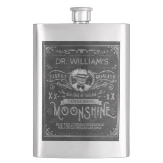Moonshine Hillbilly Medicine Vintage Custom Gray Hip Flask