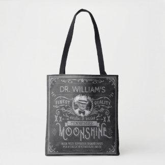 Moonshine Hillbilly Medicine Vintage Custom Gray Tote Bag