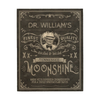 Moonshine Hillbilly Medicine Vintage Custom Gray Wood Print