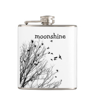 moonshine with birds hip flask