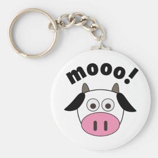 Mooo! Cow Basic Round Button Key Ring