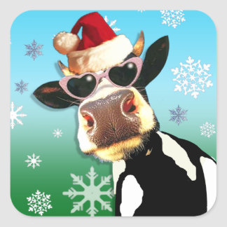 Moooootiful Christmas Cow Santa Hat Square Sticker
