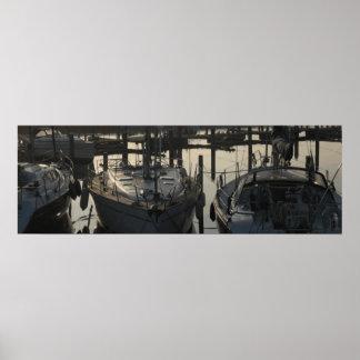 Moored Sailing Boats and Yachts in Marina/ Harbor Poster
