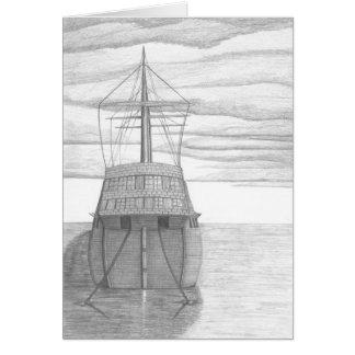 Moored Ship Sketch Card