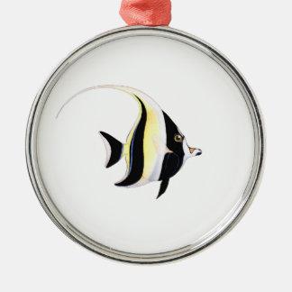 Moorish Idol Fish Silver-Colored Round Decoration