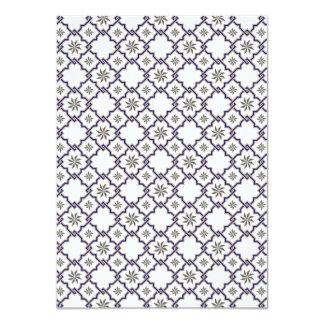 Moorish Wedding Invitation Design - Blue Off-White