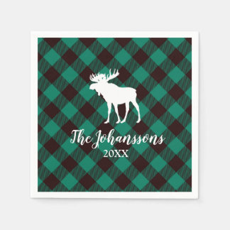 Moose and Buffalo Green Plaid Pattern Christmas Disposable Serviette
