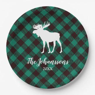 Moose and Buffalo Green Plaid Pattern Christmas Paper Plate