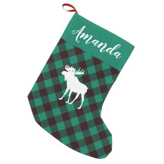 Moose and Buffalo Green Plaid Pattern Christmas Small Christmas Stocking
