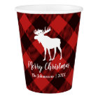 Moose and Buffalo  Red and Black Plaid  Christmas Paper Cup