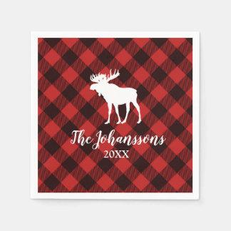 Moose and Buffalo  Red and Black Plaid Christmas Paper Napkins