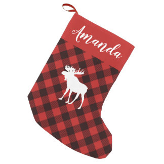 Moose and Buffalo  Red and Black Plaid Christmas Small Christmas Stocking
