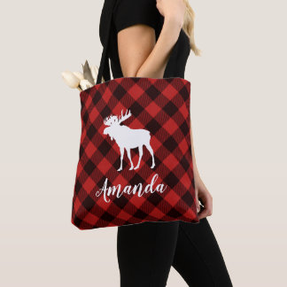 Moose and Buffalo Red Plaid Pattern Christmas Tote Bag