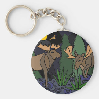 Moose Art Abstract Keychains