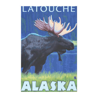 Moose at Night - Latouche Alaska Stretched Canvas Prints