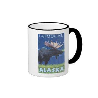 Moose at Night - Latouche Alaska Coffee Mugs