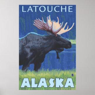Moose at Night - Latouche Alaska Poster