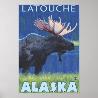 Moose at Night - Latouche, Alaska Poster
