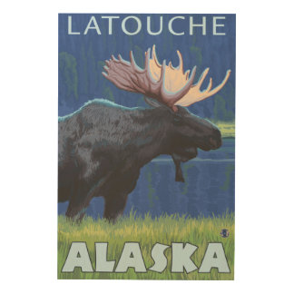 Moose at Night - Latouche Alaska Wood Print
